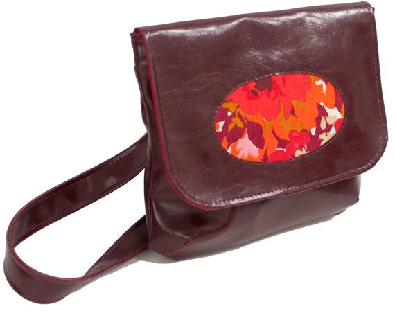 Custom Vegan Leather Cross body Purse - Choose your own Faux Leather & Fabric Panel