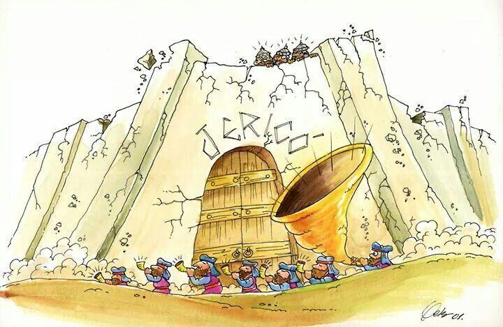 Josué derrubando as muralhas de Jericó!