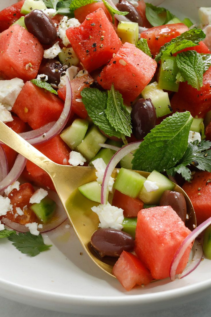 NYT Cooking: It's not an immediately obvious combination – watermelon, cucumber, olives and feta – but one bite will leave you convinced that this savory-sweet summer salad is something truly special. The astringent punch of the olives and feta provides a sophisticated counterpoint to the watery mellowness of the melon and cucumber. With a hunk of bread, it's a lovely light lunch