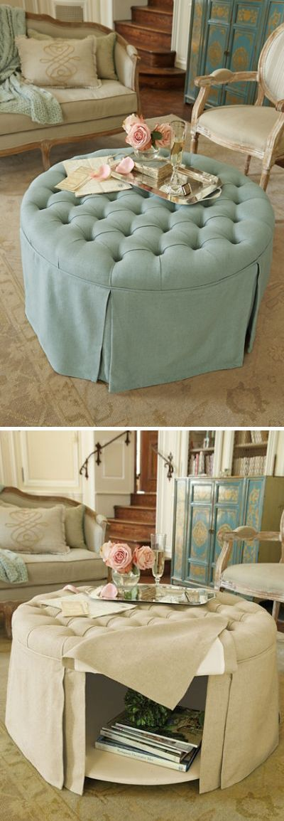Round Tufted Storage Ottoman (beach dorm rooms lake houses)