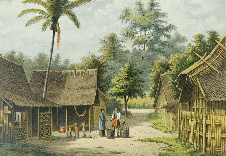 Josias Cornelis Rappard - Suasana sebuah kampung di Jawa