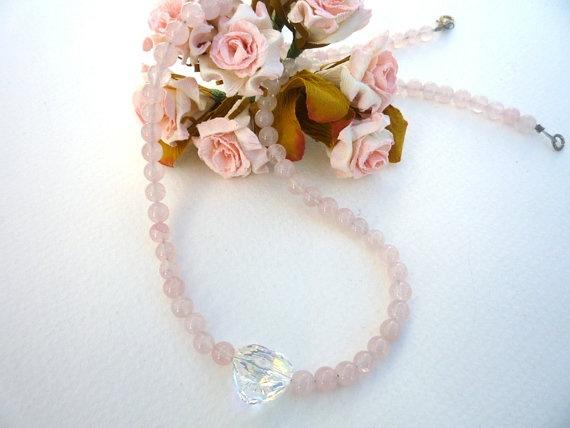 Rose Quartz necklace with Swarovski crystal Heart.