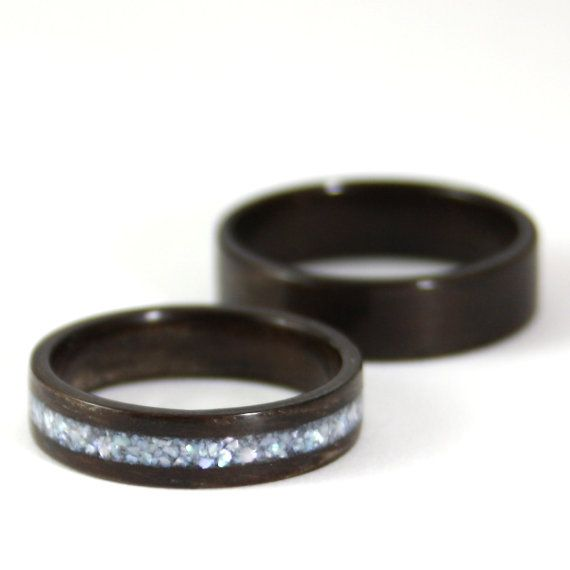 Wooden Wedding Ring Set Rosewood Wood With Pearl Inlay And Clic