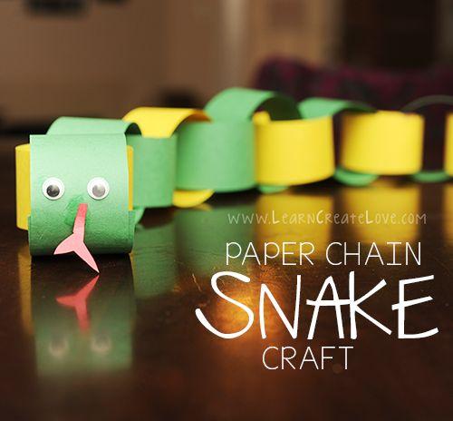 Paper Chain Snake Craft | LearnCreateLove.com