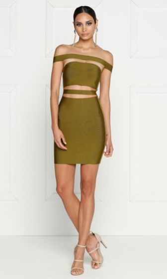 433d7e1027e5 Seduced by the Night Olive Green Off The Shoulder Cut Out Bandage Bodycon  Mini Dress - Inspired by Kylie Jenner