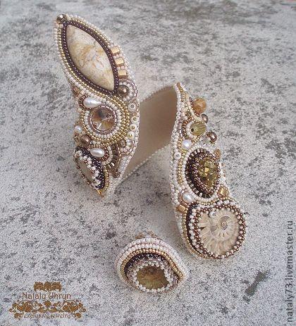 """Браслеты ручной работы. Ярмарка Мастеров - ручная работа браслет+кольцо """"Золотые пески"""". Handmade."""