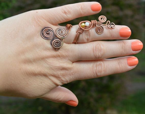 Copper ring hammered copper statement ring wire by CopperFinger