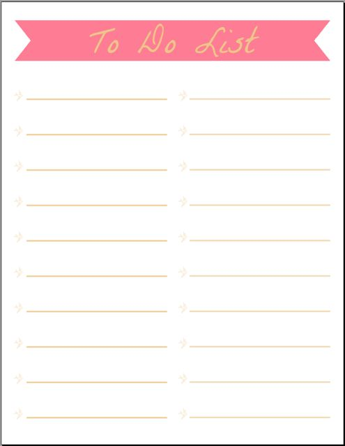 To Do List Printables  I love to do list because I can organize my day and then cross things off as I do them!!