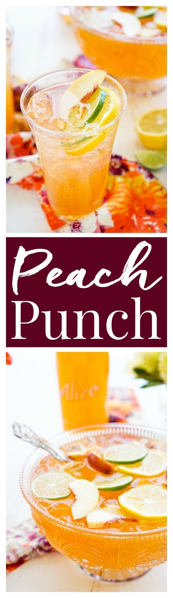 This Spiked Peach Punch is the perfect big batch cocktail for summer! Smooth Alizé Peach vodka blends with white rum, lime juice, and ginger ale for a refreshing and vibrant warm weather beverage! #AlizeInColor #ad
