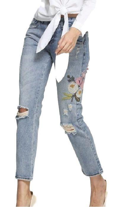 Spodnie Damskie Z Naszywkami Jeansy Haft Kwiaty Boring Clothes Clothes Fashion