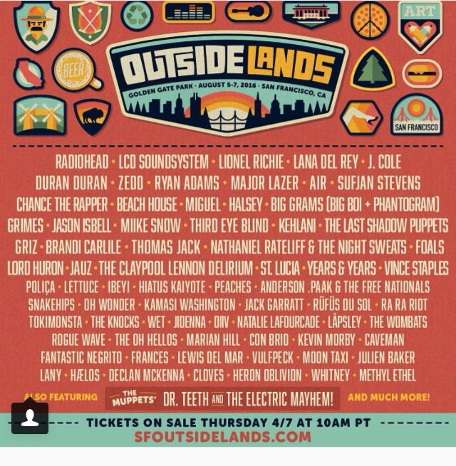 Outside Lands 2016 Lineup.