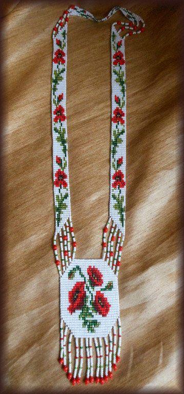 Collar de ucraniano tradicional joyería de amapolas Gerdan