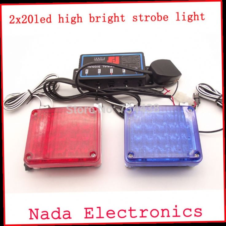 45.00$  Buy now - http://ali1gy.worldwells.pw/go.php?t=32686295709 - free shipping 2x20LED car strobe Lights high power Police Warning lights Emergency flash light DC 12V RED BLUE WHITE 45.00$