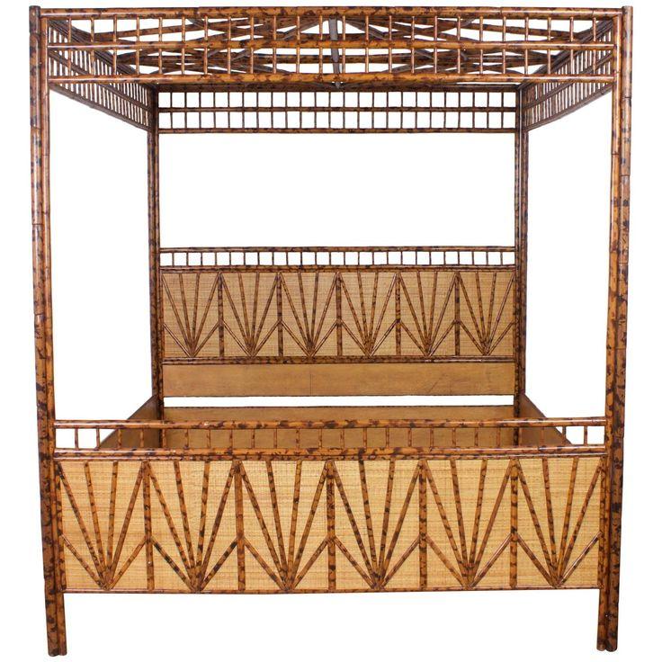 Dramatic King-Size Mid-Century Maitland-Smith Canopy Bed 1