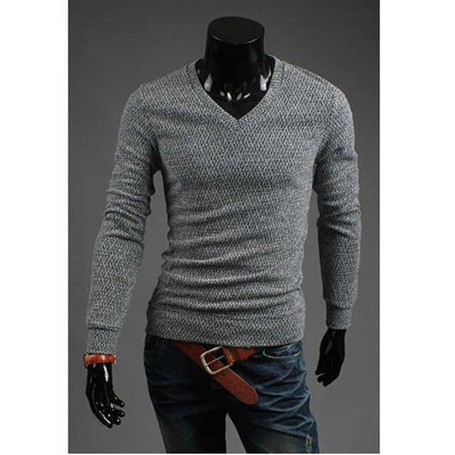 Brand Men Pullover Sweater Thick Winter Warm Cotton Pullovers Knitwear V-Neck Pullovers Mens Hand Knitted Male Sweater Gray