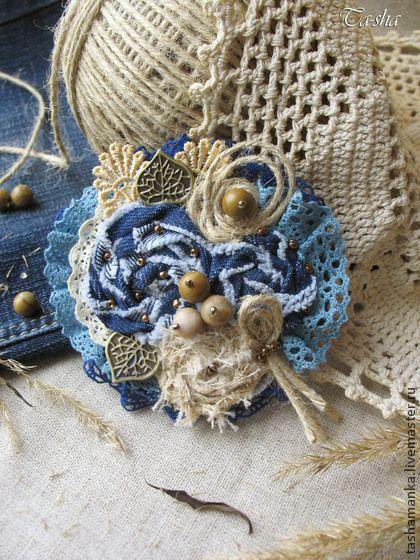 Джинсовая брошь из ткани «Лесной орешник» - брошь,броши,брошь бохо,броши бохо