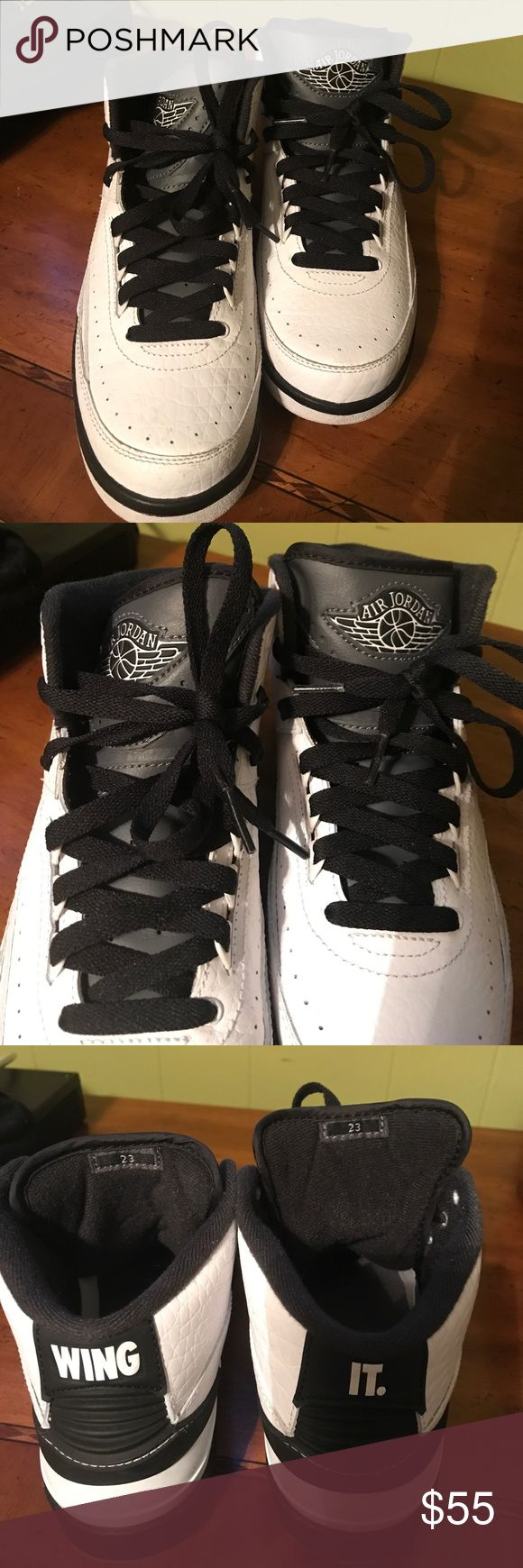 💥💥🔥AIR JORDANS 🔥💥💥 🔥🔥AIR JORDANS 🔥🔥MY SON WORN THEM 2x BLACK/WHITE ABSOLUTELY IN GREAT CONDITION SIZE 5.5 youth PLEASE NO LOW BALLS !!!!' MY SON SNEAKERS ARE ALL AUTHENTIC Jordan Shoes Sneakers