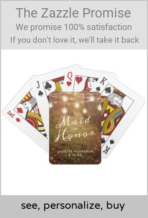 Maple Grove String Light Rustic Boho Maid of Honor Playing Cards | Zazzle.com