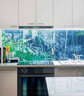 """""""Window splash back: Pearl Beach holiday home"""" Beautiful and all, but may be a pain to clean. At least there's no grout! -cld"""