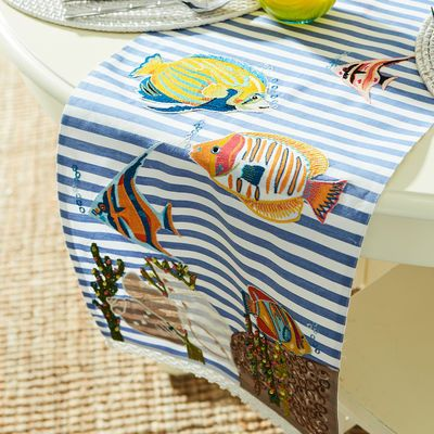 Table Runners 101: Pick a backdrop that reflects your style. For beach lovers, we recommend this coastal-inspired runner for setting a table with a nod to nautical charm.