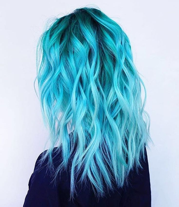 Bright Turquoise Hair With Beachy Waves