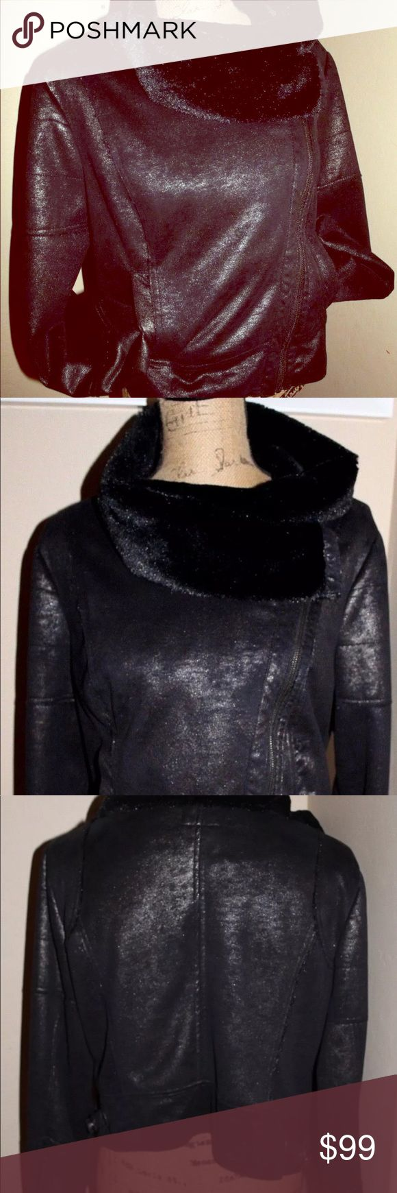Bebe faux fur zip up black shimmer biker jacket L Style 107ay102n580 Bebe Stunning Faux Fur Lined Silver Suede Jacket with Glitter Under-Sheen and ADJUSTABLE Fitted Waist. 100% Polyster and Vegan Friendly. Zip up for closure and  at the arms. Side pockets. Super cozy and warm inner lining. EXCELLENT USED CONDITION. RARE FIND!   designer BEBE  Asymmetrical Crop Fur Lined Jacket  Women's Size Large bebe Jackets & Coats Utility Jackets