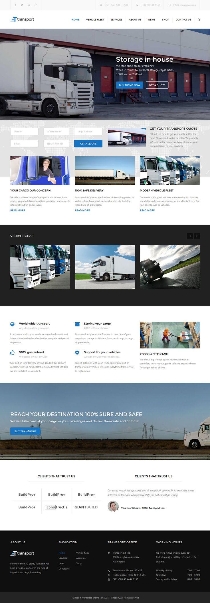 Transport theme is an Wordpress business theme. #webdesign Download: http://themeforest.net/item/transport-wp-transportation-logistic-theme-/11023307?ref=ksioks
