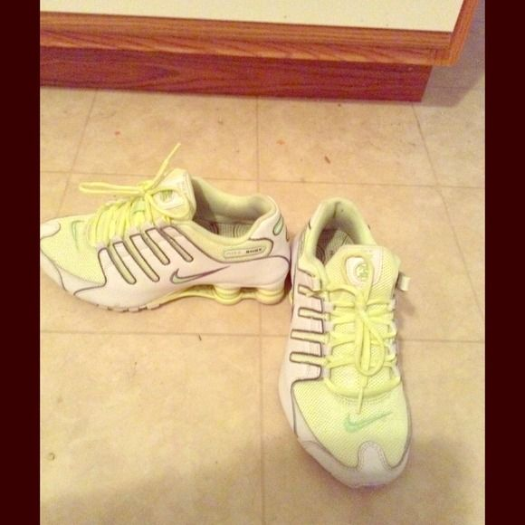 Neon green and white nike shock Never been worn neon green and white nike size 6.5 Nike Shoes