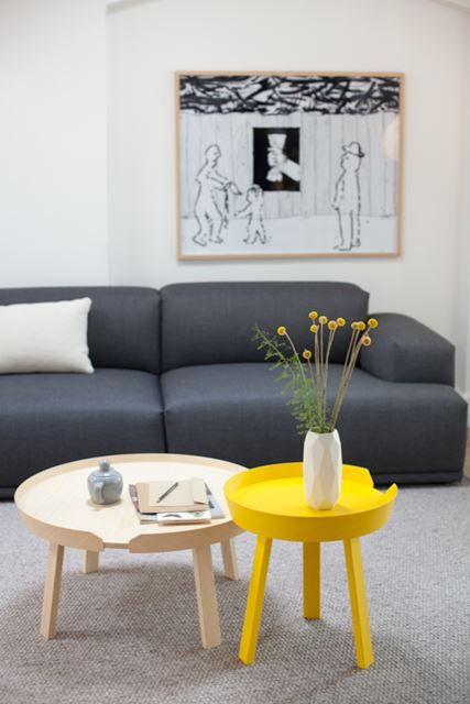 Copenhagen Modern Living Room with Yellow Accents