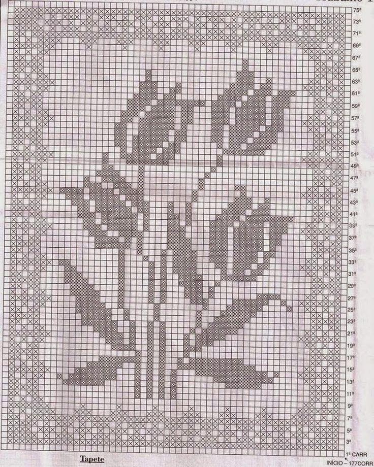 Tapete em crochê file com gráfico - Crochê On Line - Gráficos, Paps e Vídeoaulas