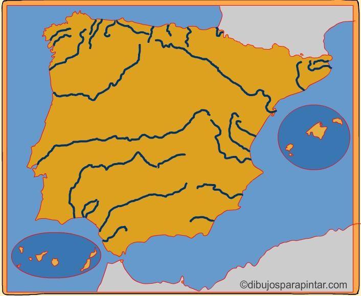 Mapa De España Mudo Rios Para Imprimir.Pin En Mapas2