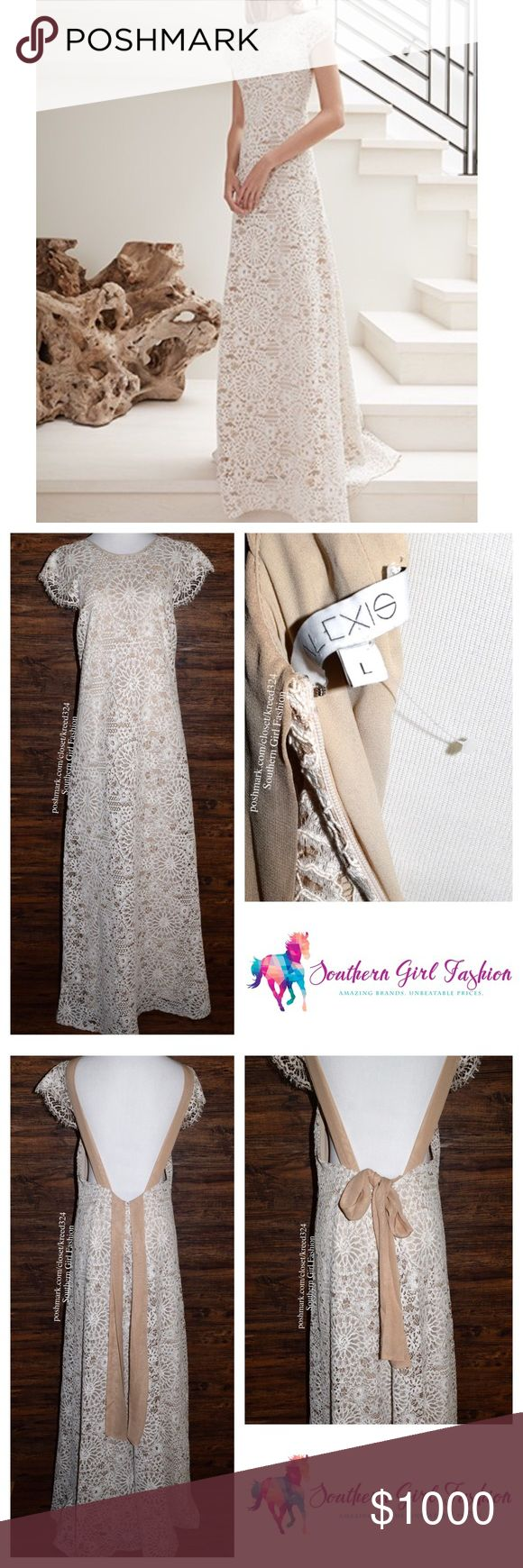 ALEXIS Dress Lace Maxi Cutout Back Gown Wedding Women's Size Large.  New Without Tags. $765 Retail + Tax.  • Gorgeous lace gown featuring intricate eyelet detailing & draped silhouette. • Open, dropped back with optional bow back tie and hidden zip closure. • Fully lined (beige). • Perfect for your most special event!  • Measurements in comment(s) section below.  {Southern Girl Fashion - Closet Policy}   ✔️ Same-Business-Day Shipping (10am CT). ✔️ Reasonable best offer considered when…