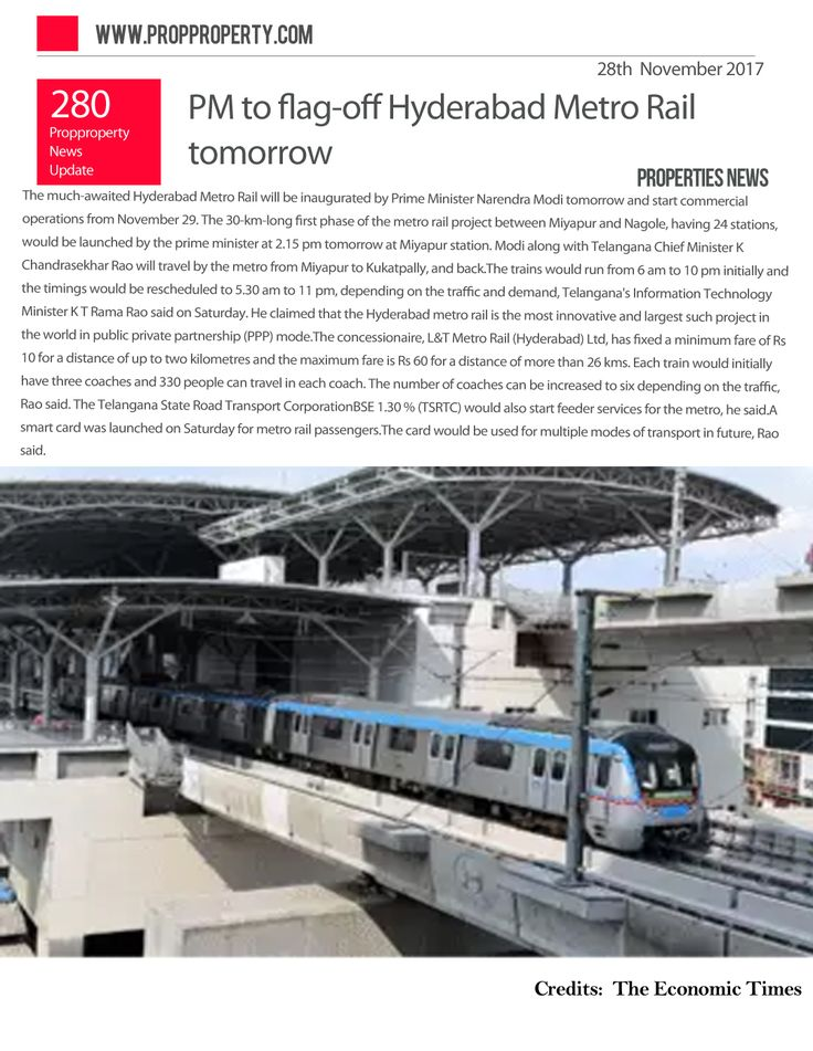 PM to flag-off Hyderabad Metro Rail tomorrow  http://www.propproperty.com/newsfeed/Properties/PM-to-flag-off-Hyderabad-Metro-Rail-tomorrow-