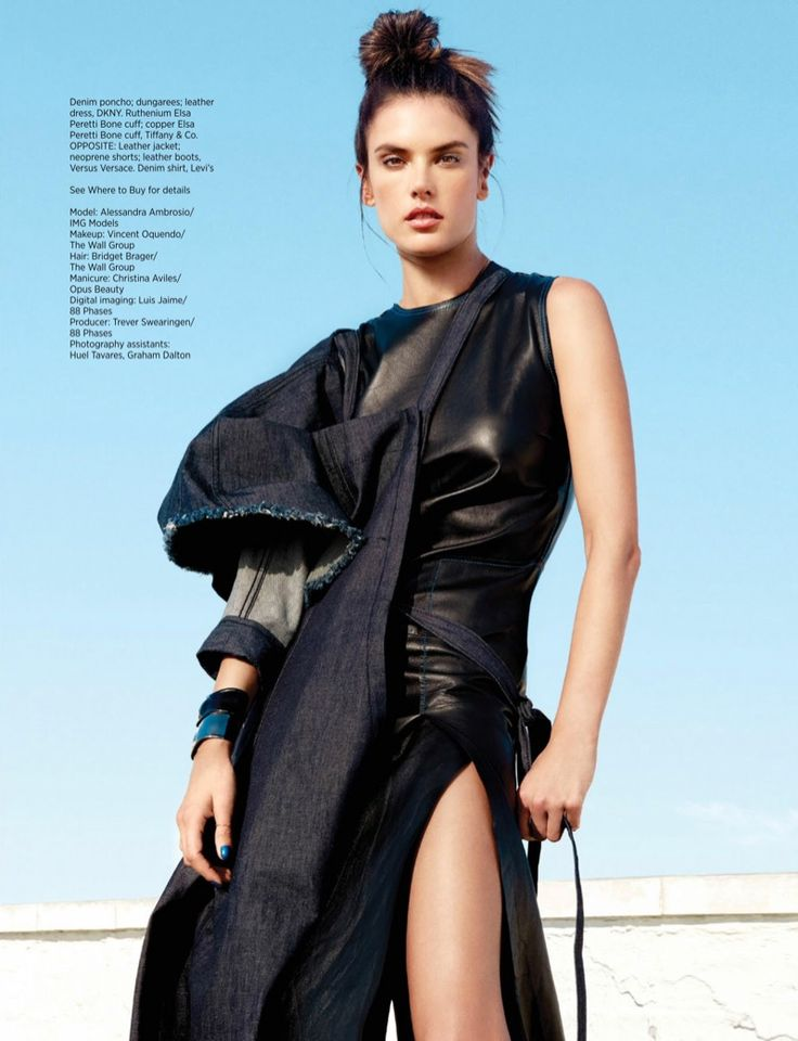 Looking strong, Alessandra Ambrosio models DKNY denim poncho, overalls and leather dress for Harper's Bazaar Magazine Singapore January 2017 issue