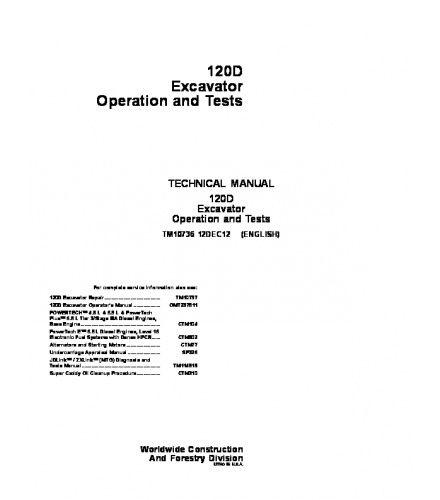 15 best john deere technical serivce repair manual images on pdf download john deere 120d excavator operation and test service technical manual tm10736 fandeluxe Choice Image