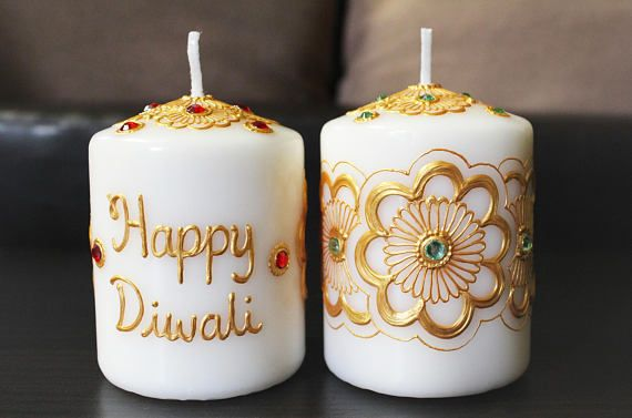 Set of 2 Diwali Henna Candles – Henna Inspired Home/Wedding Decor and Favors/Diwali Gifts
