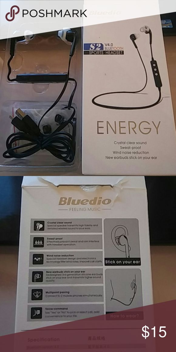 Bluedio Energy S2 sports bluetooth headset stereo Bluedio Energy S2 sports bluetooth headset stereo earbuds earphone wireless headphones built-in microphone water/sweat proof black Other