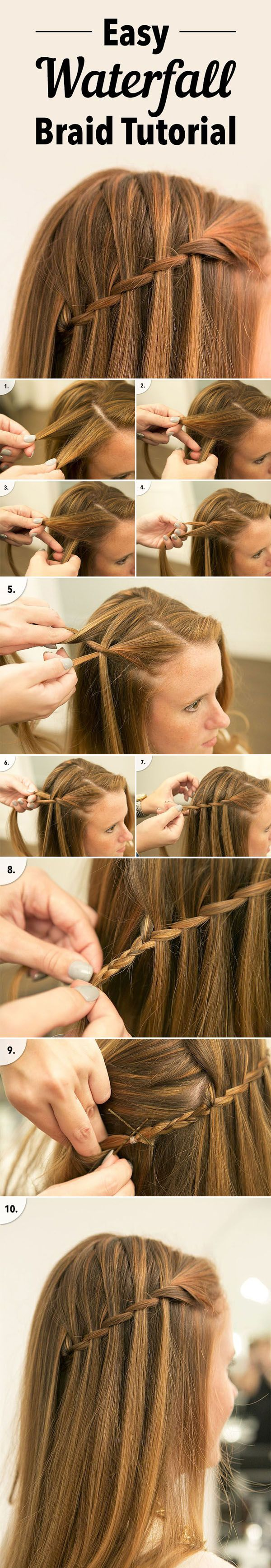easy waterfall braid tutorial for diy wedding hairstyle ideas