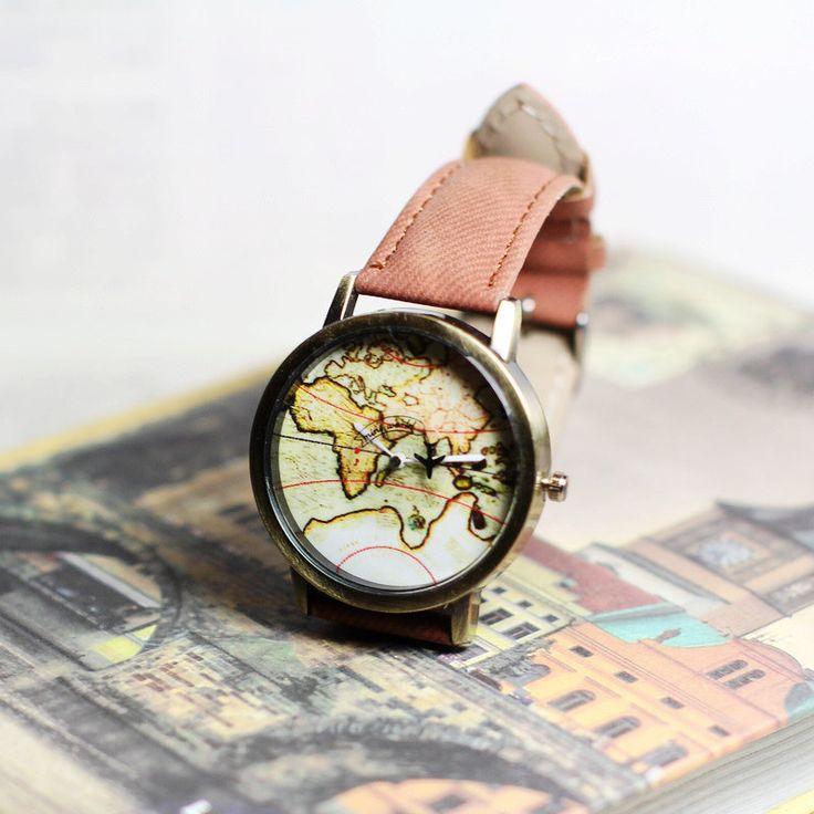 Wereld kaart horloge lederen polshorloge wereld kaart reizen