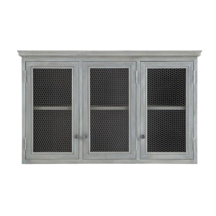 meuble haut de cuisine en bois dacacia gris l 120 cm