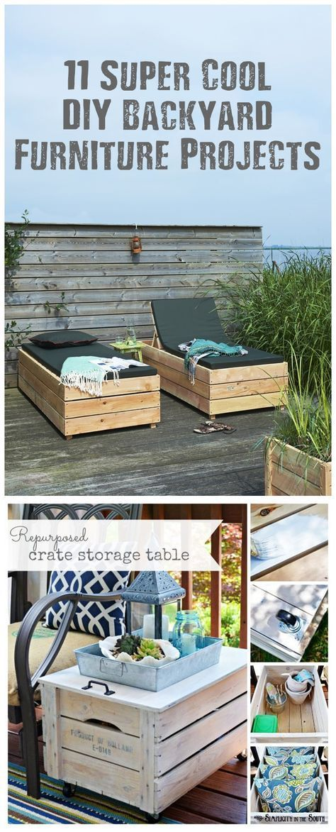 11 Super Cool DIY Backyard Furniture Projects - With the warm weather here it's the perfect time to get your DIY hands screwed on and start making things. I am sure you are like me and feel like you have been cooped up all winter long and need to start DIY'ing!