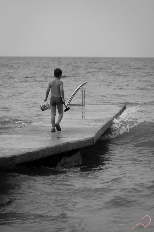 childhood  #childhood #croatia #playing #Mediterranean #sea #Novalja #pag