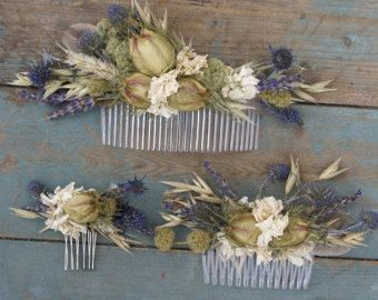 Boho Sunshine Dried Flower Hair Comb by EnglishFlowerFarmer
