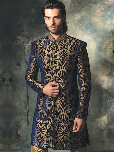 Velvet Sherwani with Zari thread work