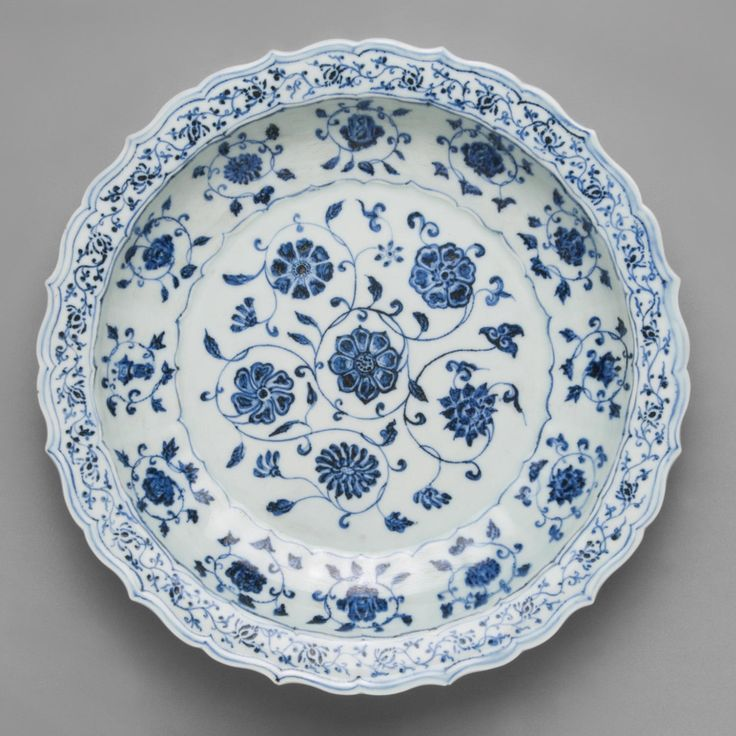 Porcelain Dish  Artist/maker unknown, Made in Jingdezhen, Jiangxi, China,  Ming Dynasty (1368-1644) Date: Early 15th century Medium: Porcelain with underglaze cobalt blue decoration Held at the Philadelphia Museum of Art