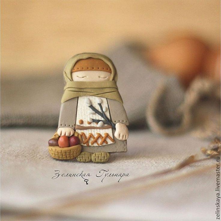 Купить Пасха. Сувенирный магнит - оранжевый, Пасха, пасхальный сувенир, на пасху, народная кукла, бабушка