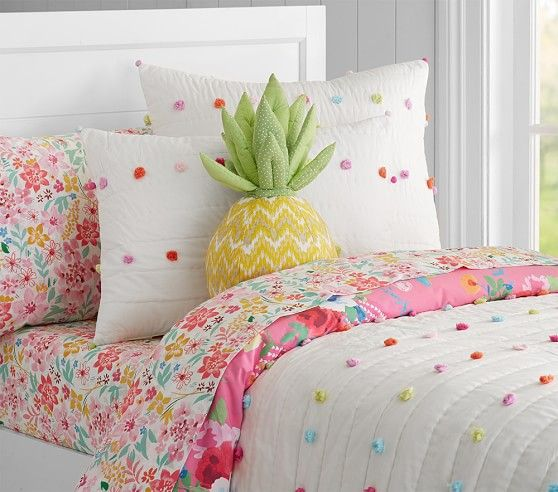 Bright Pom Pom Quilted Bedding | Pottery Barn Kids