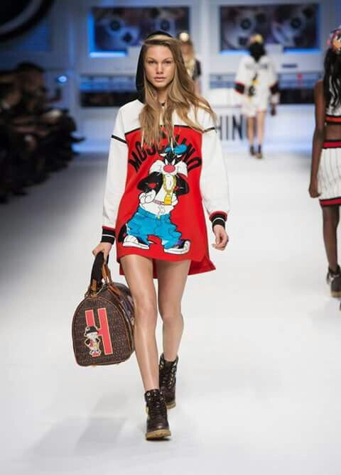Image via We Heart It #fashion #handbag #hood #longlegs #looneytunes #Moschino #runway #sylvester