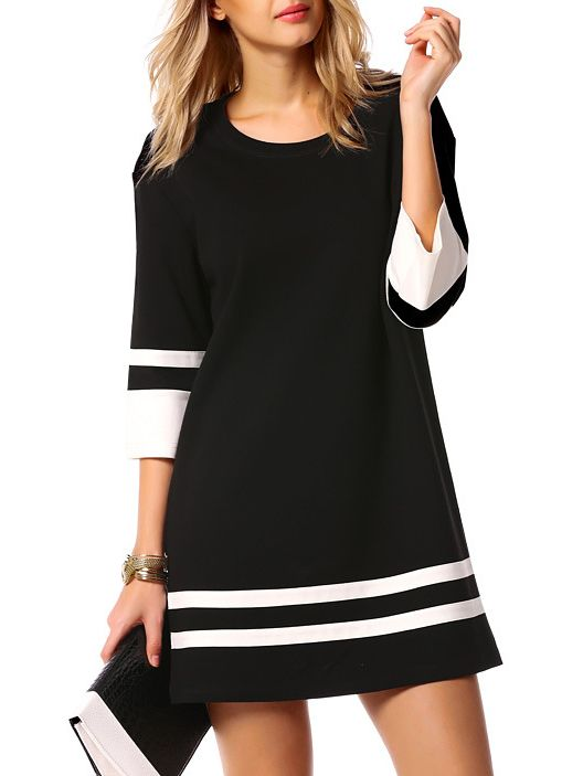 Round Neck Striped Straight Dress 14.00