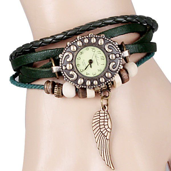 Wholesale Quartz Watch with Wing Design Round Dial and Leather Watch Band for Women Only $2.01 Drop Shipping | TrendsGal.com